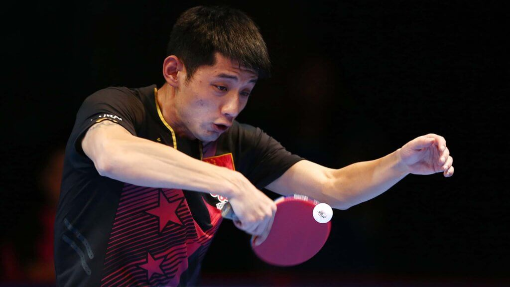DUBAI, UNITED ARAB EMIRATES - APRIL 29:  Zhang Jike of China in action during the Men's Quarter Final match against Chang Hung-Chieh of Chinese Taipei during day two of the Nakheel Table Tennis Asian Cup 2016 at Dubai World Trade Centre on April 29, 2016 in Dubai, United Arab Emirates.  (Photo by Warren Little/Getty Images) *** Local Caption *** Zhang Jike